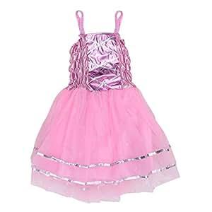 BESTOYARD Vestido de Disfraz de Princesa de Hada para Fiesta de Cumpleaños de Partido de Niñas (Rosa Claro)