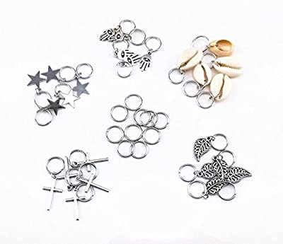 yueton 35pcs Silver Ring Shell Hands Cross Leaves Star Pendant Rings Set Hair Clip Headband Hair Accessories