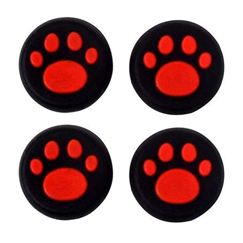 Silicone Thumb Stick Grip Cap Joystick Thumbsticks Caps Cover for PS4 PS3 Xbox One PS2 Xbox 360 Game Controllers (Red Cat Dog Paw 4PCS) (Dog Games For Ps3)