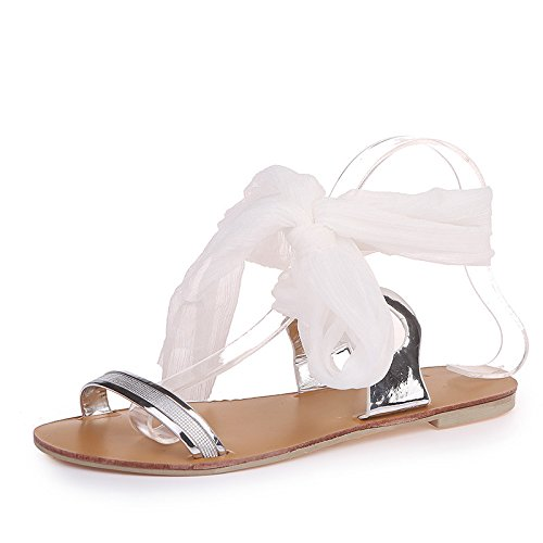 sandalias toe plano cross verano Señoras fondo de Donyyyy one sandalias lady's lazos Forty qCRBpxgw