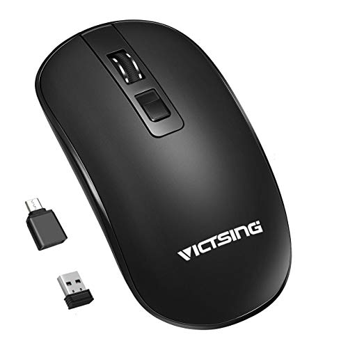 VicTsing Rechargeable Wireless Mouse, 2.4G Quiet Optical Computer Mouse Portable & Slim with USB C Adapter, USB Receiver, 3-Level Adjustable DPI, Compatible with PC, Laptop, Notebook, Computer(Black)