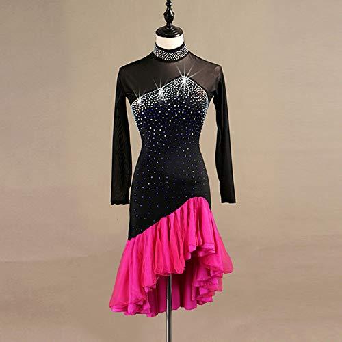 Spandex Cristalli Donna Prestazioni yifu Lunga Strass Manica Red Fengjingyuan Latin Abiti Dance Abito RBq6w6c