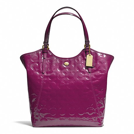 Coach Peyton Op Art Embossed Berry Patent Leather Tote - Style F25703