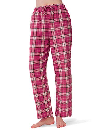 SIORO Flannel Pajama Pants for Women Soft Cotton Plaid, Sleepwear Loungewear Bottoms, Fuchsia and White Plaid, S