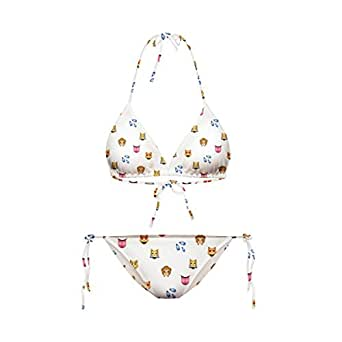 LoveLiness White Emoji Icon Digital Print Bandage Halter Bikini Set Swimwear