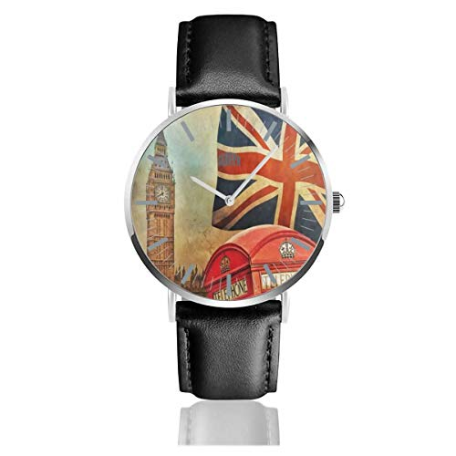 - Watch Vintage London City UK Flag Big Ben Fantastic Wrist Watches Quartz Stainless Steel and PU Leather for Unisex