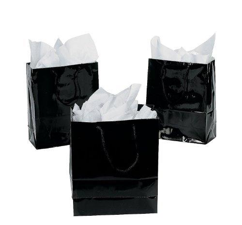 Medium Black Gift Bags (1 Dozen) - Bulk [Toy] (Black)