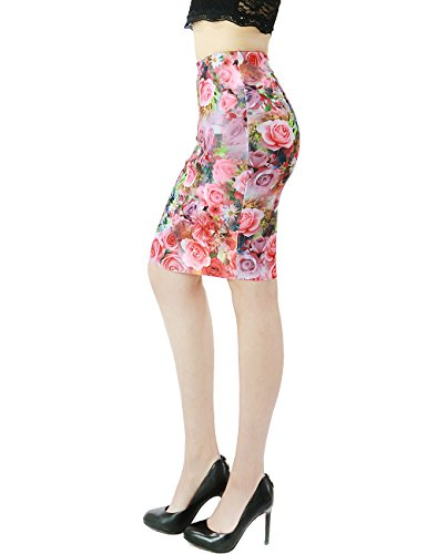 Womens Spring All Over Rose Garden Print Stretch Pencil Skirt Knee Length (LARGE, PINK)