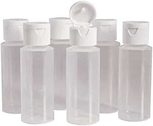 2oz Clear Plastic Empty Bottles with Flip Cap - BPA-free - Set of 6 - Travel Size 2 Ounce - By Chica and Jo