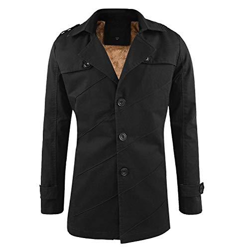 Modo Cappotto Addensare Abbigliamento Giacca Con Inverno Di Huixin In Schwarz Maschile Fit Universitario Risvolto Pile Manica Trench Slim Lungo Outwear Caldo raPwrdqxt