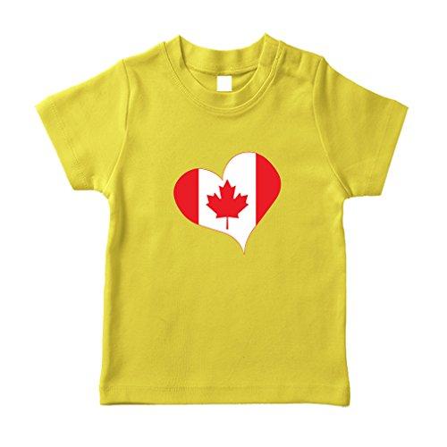 Canada Cotton Short Sleeve Crewneck Unisex Toddler T-Shirt Jersey - Yellow, 6 Months (Canada Merchandise)