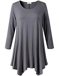 Lanmo Women Plus Size 3/4 Sleeve Tunic Tops Loose Basic...