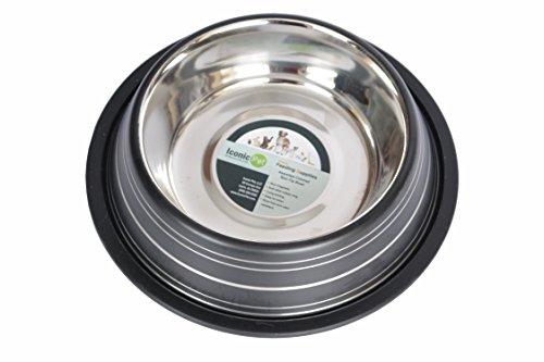 Iconic Pet Color Splash Stripe Non-Skid Pet Bowl, 96-Ounce, Black