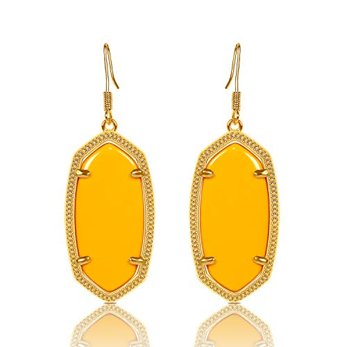 (Fashion Metal Oval Crystal Quartz Drop Dangle Earrings for Women (Gold(Yellow)) )