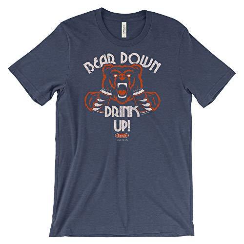 Chicago Football Fans. Bear Down Drink Up Navy Shirt (Sm-5X) (Short Sleeve, 2XL)