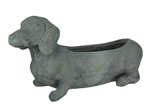 Grey Cement Dachshund Dog Indoor/Outdoor Planter For Sale