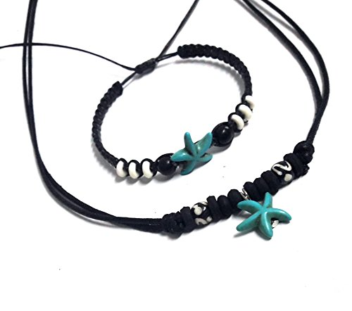 [Necklace and Bracelet with Sea Starfish in Turquoise Color Hawaiian Sea Starfish Bracelet Black Hemp] (Dance Moms Amber Alert Costumes)
