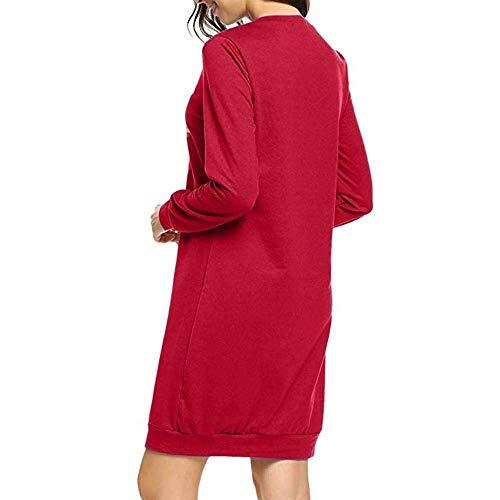 Girocollo Donna Manica Stampa Vestito Camicetta Sciolto Scimmia Lunga Abito Rot Natale Moda Personaggio Da Ragazza Chic Abiti Casual Camicia Elegante Mini thCQrosxdB