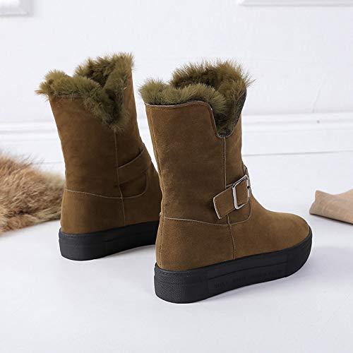 AGECC Winter Schneeschuhe Damenschuhe Medium Tube Kurze Stiefel Wasserdicht Anti-Rutsch Flacher Boden Warme Baumwollschuhe.