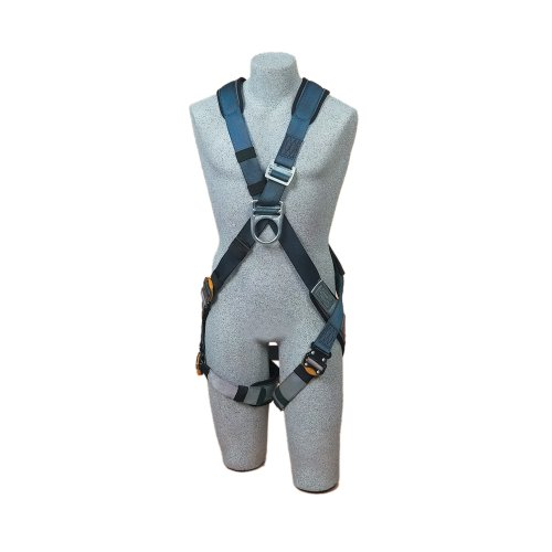 DBI/Sala ExoFit, 1108675 Cross Over Climbing Harness, Back/Front D-rings, Quick Connect Leg Buckles, Built In Comfort Padding, Small, Navy/Gray