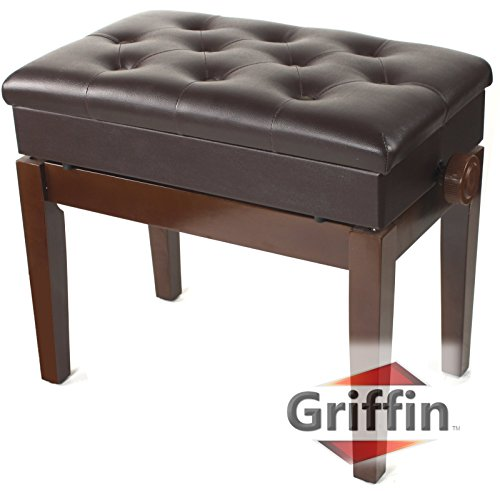 Adjustable Piano Brown Leather Bench by Griffin – Vintage Stylish Design, Heavy-Duty & Ergonomic Keyboard Stool, Comfortable Seat & Convenient Hidden Storage Space, Perfect For Home & Professional Use