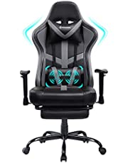 VON Racer Massage Gaming Chair Racing Computer Desk Office Chair Swivel Ergonomic Executive Bonded Leather Chair with Headrest Footrest and Adjustable Armrests,Grey