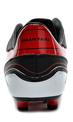 Dream Pairs 151028-151030 Hombres Sport Flexible Athletic Free Running Light Peso Interior / Exterior Zapatos De Fútbol Con Cordones Black-red-white