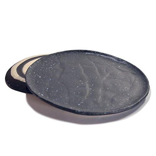 RoRo Ceramic Stoneware Black Speckled Hand-Molded Dinner Plate, 11 Inch Set of 2