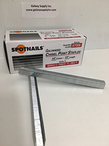 "Spotnails 87006 Galvanized Chisel Point Staples 10mm 3/8"" Simular to SENCO C / FASCO 7C / BEA 71 Quantity:10,000 staples from Spot Nails"