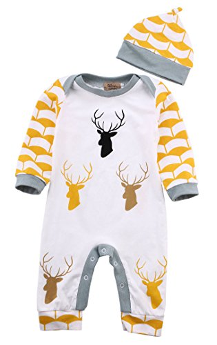 2Pcs Newborn Baby Boy Girl Deer Print Long Sleeve Bodysuit Romper +Hat Clothes Set (6-12 Months, Yellow)
