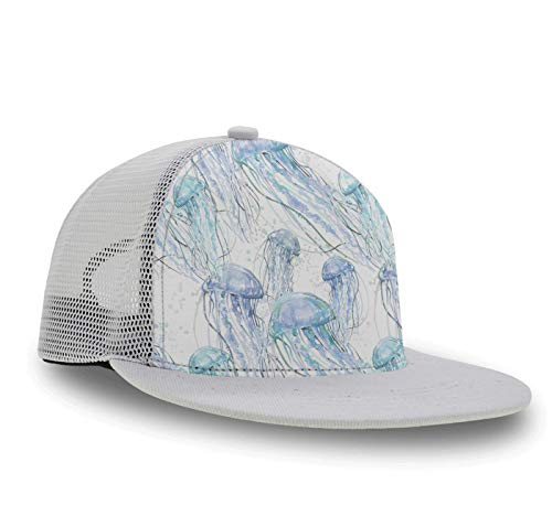 Men & Women Baseball Cap Snapback Hat, Navy Blue Ocean Jellyfish Sets Classic Polo Style Trucker Cap Dad Cap for Baseball Golf Fishing Hiking Outdoor Activities - Breathable ()