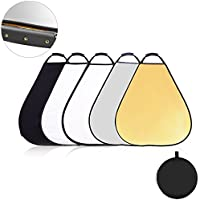 UTEBIT Triangle Reflector Photography 5 in 1 32 Inch / 80cm Bounce Photo Reflector with Handle, 1/4 Thread Mount Hole and Portable Bag for Photo Studio and Outdoor Lighting