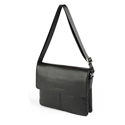 OTTO Genuine Leather Designer Handbags   Unisex Messenger Bag   Classic Shoulder Purse   Travel Carryall - 36.8 cm - 14.5'' (Black) by OTTO Leather