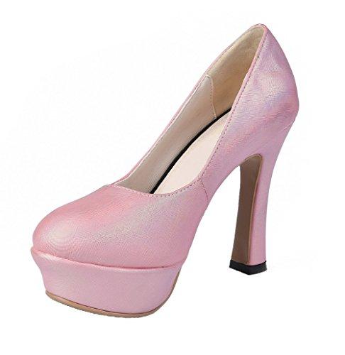 Assortito Tirare Ballerine Punta di Rosa Donna Alto Pelle Colore Tacco VogueZone009 Mucca Tonda qPv84F