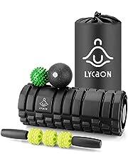 LYCAON Foam Roller Set voor spieren-spanning/fitness/yoga/pilates, 5 stuks inclusief yoga roller, massage stick, massage EPP bal, spiky massage bal & opbergtas