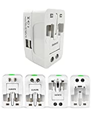 Roloiki All-in-One Universal World Wide Travelling AC Adapter Plug (AU/UK/US/EU) International Power Charger Electric USB Power Plug Socket Adaptor Converter,(1 Pack, White)