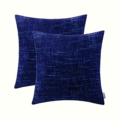 HWY 50 Chenille Soft Decorative Throw Pillows Covers Set Cushion Cases for Couch Sofa Living Room Comfortable 18 x 18 Inch Blue Decor Pack of ()