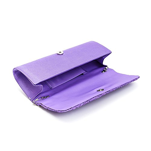 Lace Ladies Purse Designer Womens Wedding Purple Bag Satin Handbag Party Evening Clutch Floral Fqa54U