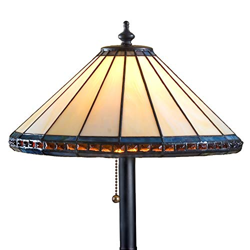 J Devlin Lam 646 TB Tiffany Stained Glass Small Table Lamp Ivory with Multi Colored Trim and Amber Colored Stones