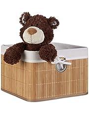 Relaxdays Kosz do przechowywania, obicie materiałowe, bambus, prostokątny, łazienka, akcesoria, zabawki, wys. x szer. x gł.: 20 x 31 x 31 cm, kolor naturalny