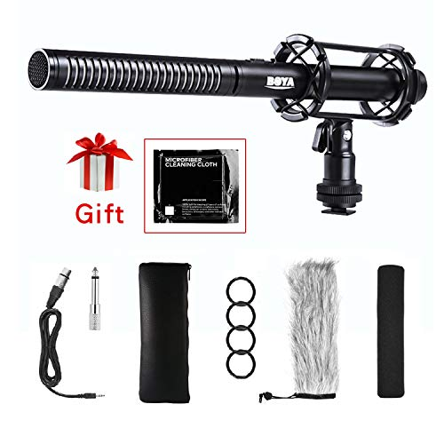 BOYA BY-PVM1000 Pro Broadcast-Quality Interview Shotgun Microphone with Foam Windscreen & Shock Mount 3 Pin XLR Output for Canon 6D Nikon D800 Sony Panasonic Camcorders