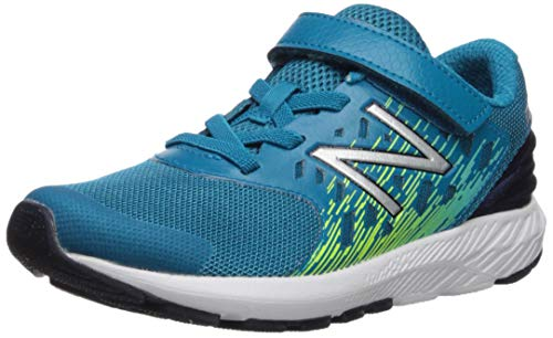 New Balance Boys' Urge V2 FuelCore Hook and Loop Running Shoe Ozone Blue/hi lite 4 M US - Balance Shoes Boys New Wide
