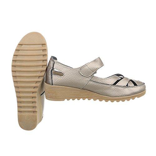 para de Ital mujer Zapatos 9003 Plataforma Zapatos Cuñas tacon Bronze Design dq1Zwxt1