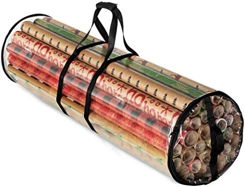 "Christmas Wrapping Paper Storage Bag - Fits 14 to twenty Standard Rolls Upto 40""- Slim Design Underbed Wrapping Paper Storage Container or Closet Storage Gift Wrap Organizer, Water Proof PVC Fabric, Clear"