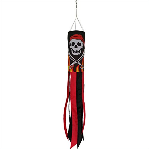 Produtos Profissionais de Elite 40-Inch Durable Flaming Pirate Windsock with Black and Red Tails