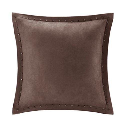 Madison Park MP30-2087 Alban Stud Trim Microsuede Square Pillow, Brown