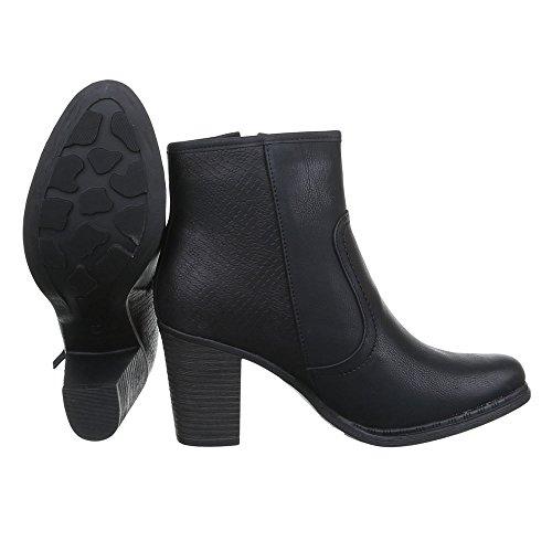negro plisadas Botas Mujer Design Ital 74Xqvv