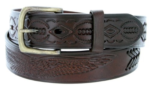 Mens Oil Tanned Western Style Genuine Leather Tooled and Laced Belt (38, Brown)