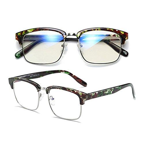 intensité minimaliste bleu lunettes Inlefen anti design verres optiques Mode sans de Green trame de demi souple Matériau qrZZExYP