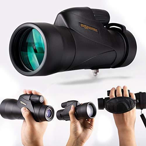 SOLOMARK QHMN002A 12X50 High Definition Monocular Handheld Waterproof Monocular-Bak4 Prism Fmc for Wildlife Bird Watching Hunting Camping Travelling Outdoor Sports, Black